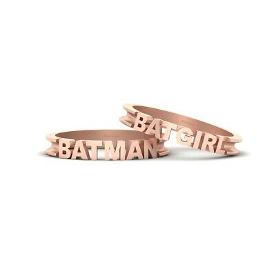 Batman and Batgirl Fantasy Couple Wedding Band Set His and Her Promise Bands 2Pc