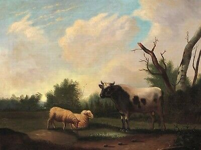 Bull and Sheep in Landscape Antique Oil Painting 19th Century Northern European