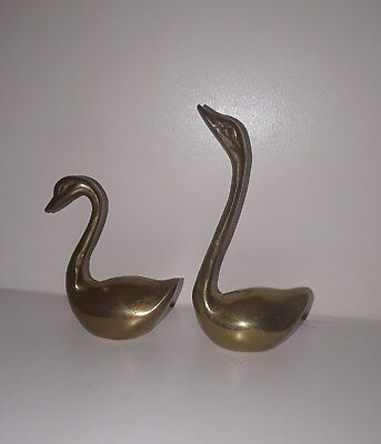 Pair of 2 Brass Swans Figurines Vintage Antique