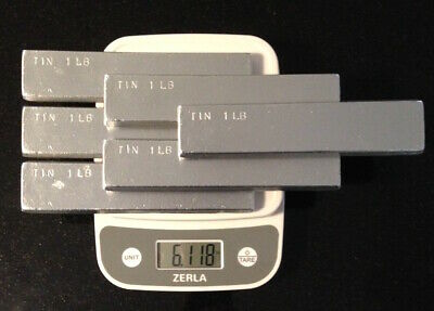 Tin Metal Ingot 99% Pure - 6 Pounds Total in 6 One Pound Bars