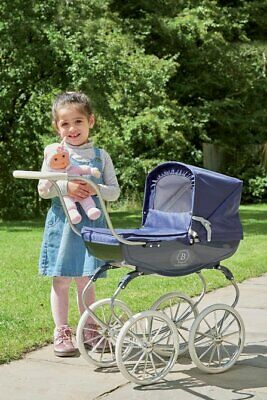 Kids Vintage Carriage Toy Pram Baby Doll Children Role Play Classic Buggy - Navy