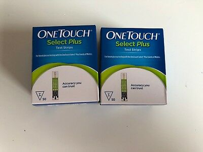 2 Cajas De Un Touch Select Plus Tiras Reactivas 50 (100 Tiras en Total) Stock Ru