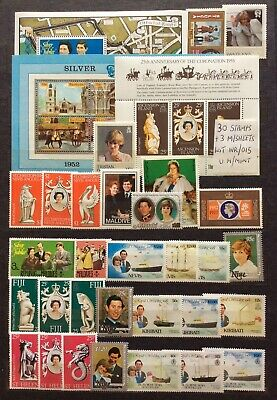 Commonwealth 30 Royalty Stamps & 3 M/Sheets UM/Mint All Different (Lot WR/015)