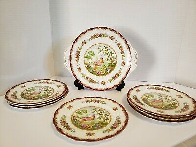 Royal Albert Chelsea Bird Maroon Cake Plate With 7 Bread And Butter Plates