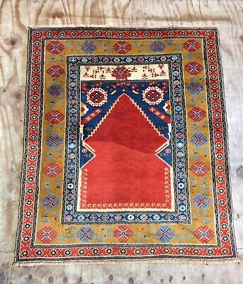 Beautiful Vintage Anatolian  Hand Woven Large Prayer Rug