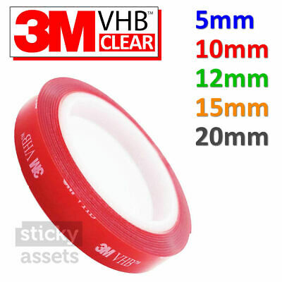 3M VHB™ CLEAR Double-Sided ADHESIVE TAPE Strong Heavy Duty Mounting Acrylic Roll