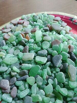 GENUINE BEACH GLASS SEA GLASS NATURALLY SURF Tumbled Green all different 1lb
