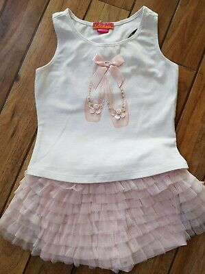 Kate Mack Pale Pink Tulle frilled Skorts and vest with ballet shoes Age 3