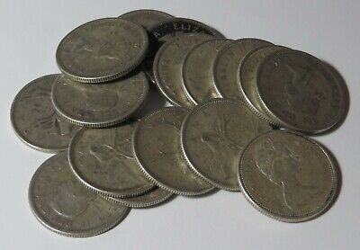 16 - 1949 To 1967 Circulated Silver Twenty-Five Cent Coins - Not All Years