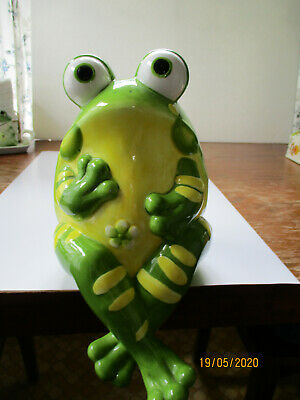 """Ceramic Shelf Sitting Frog Vase, Green and Yellow, 8"""" Tall, Excellent Condition"""
