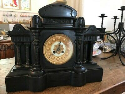Antique mantle clock, black slate and marble