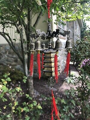 Antique bronze Chinese wind bell Pagoda tower Chime 18'' beautiful details