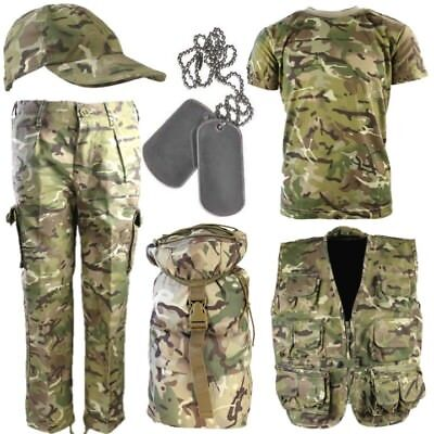 WORLD BOOK DAY BOYS ARMY COSTUME TROUSERS T-SHIRT VEST BAG CAP DOG TAGS BTP CAMO