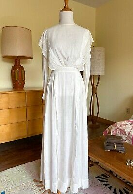 Antique Edwardian Soft Cotton Tea Dress Handmade Lace Trim Ruffles 1910s Gown