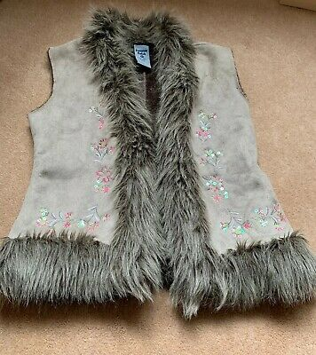 Pumpkin Patch Girl's Fluffy Furry Bodywarmer / Gilet Age 10, Height 140cm