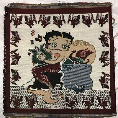 Rare Betty Boop Mermaid Playing Harp Dragon Boat Tapestry Fabric Remnant Panel
