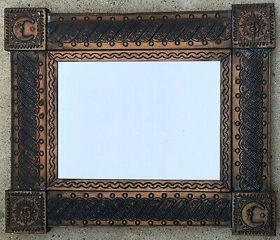 "BRONZED PUNCHED TIN METAL WALL MIRROR SUN MOON 20 x 23.50"" MEXICAN FOLK ART"