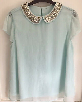 Girls George Mint Green Floaty Top With Sequin Neck Age 13-14 Years WORN ONCE