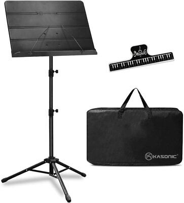 Professional Sheet Music Stand with Portable Carrying Bag and Sheet Clip Holder