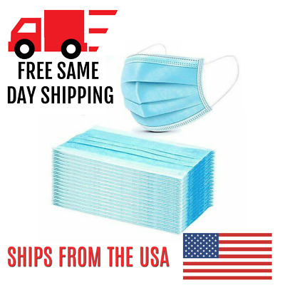 Face Mask Box of 100 😷 3-Ply Disposable PPE Breathable Cotton Filter w/ Earloop
