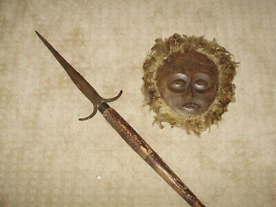 African Spear and Mask Handmade and hand carved amazing condition