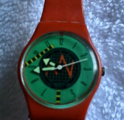 Womens 1986 Vintage Swatch Watch With Red Band.