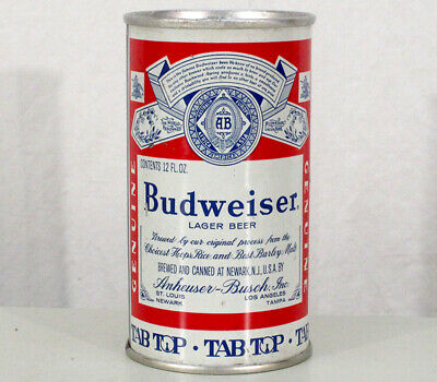 Budweiser Tab-Top •Slot Ring Pull• Beer Can Anheuser-Busch Newark, New Jersey Nj