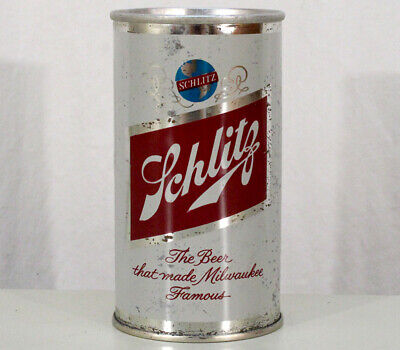 SCHLITZ •BROOKLYN NEW YORK•SLOT TAB EARLY RING PULL BEER CAN NY NYC 1960's WISC