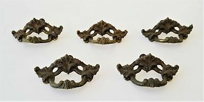 LOT vintage antique 5 METAL cabinet DRAWER PULL architectural salvage 3x1.5