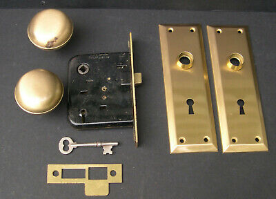Vintage Inset Door Lock And Brass Knobs