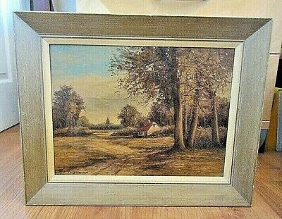 Antique Oil On Board Landscape Painting By Artist L.h.bellman / Signed