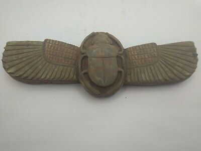 RARE ANTIQUE ANCIENT EGYPTIAN Wing Scarab Good Luck Hiroglyphic 1825 Bc