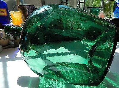 COLOR!! 1850s Super Crude Open Pontil Ovoid Emerald Green Demijohn Applied Lip