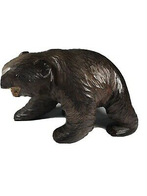 Bear Hand Carved Brown Wooden Bear Figurine Statue 7.5 x 5 Inches