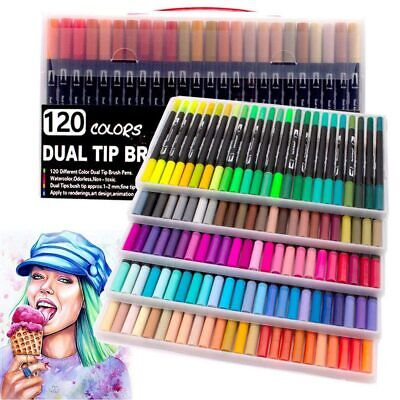 120X Colours Watercolour Brush Pens Set Dual Tips Art Markers For Kids Adults