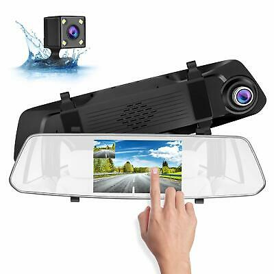 "5"" IPS Touch Screen Full HD 1080P Dash Cam Dual Lens Mirror Rear View Car Cam"