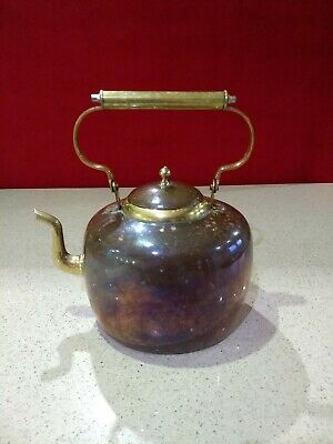 Antique Large Copper and Brass Kettle in very good condition & Beautiful Patina.