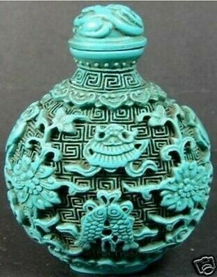 Chinese Vintage Turquoise Fish Snuff Bottle Asian Oriental Gift
