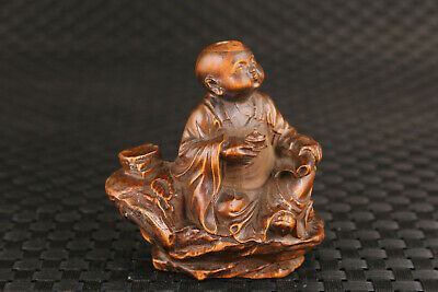 Chinese old boxwood hand carved boy monk tea time statue netsuke