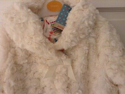 John Lewis Cream Faux Fur Fully Lined Coat Jacket. Age 18 To 24 Months. New Tag