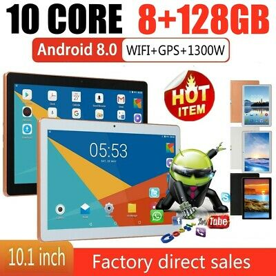 10.1 inch WiFi Tablet PC 8+128GB 10 Core Android 8.0 HD Dual Camera G-sensor UK