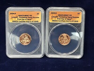 2009 P & D Lincoln Formative Years Reverse ANACS MS67RD 1 Cent Penny Lot of 2