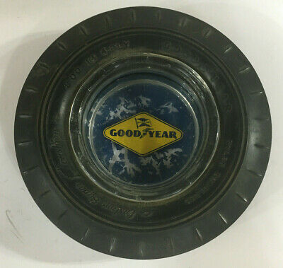 Vintage Goodyear Advertising Rubber Tire Glass Ashtray
