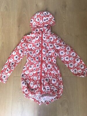 Girls Next Rain Coat Age 7-8 Red White Poppy Print