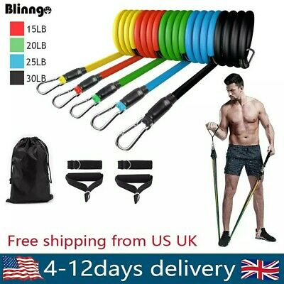 11 Pieces Resistance Bands Fitness Expander Set Tube Gym Workout Yoga Band TPE