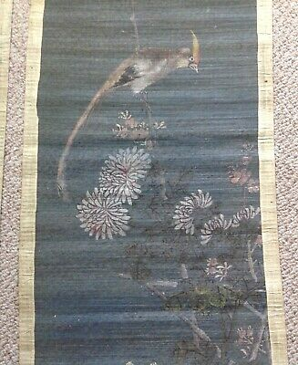 Antique, A Pair Of Japanese Hand Painted Scrolls On Fine Bamboo And Silk