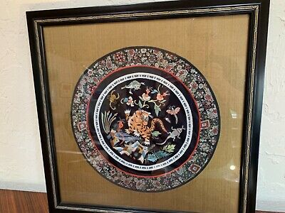 Antique Qing Chinese exquisite detailed tiger moths etc silk embroidery textile
