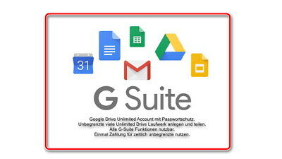 9) Unlimited Lifetime G-Suite Google Drive Cloud + Team Drive + Passwortschutz