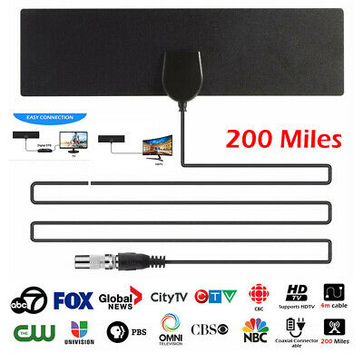 HD 4K Digital TV Aerial Antenna Indoor Freeview Signal Booster 200 Miles Adapter