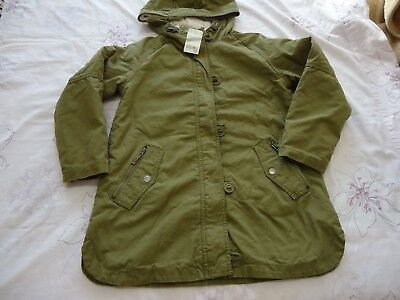 Next girls hooded parka borg lined warm winter khaki 11Y RRP £40